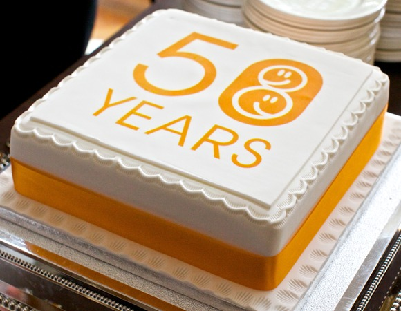 Celebration cake with VAL 50 years icing