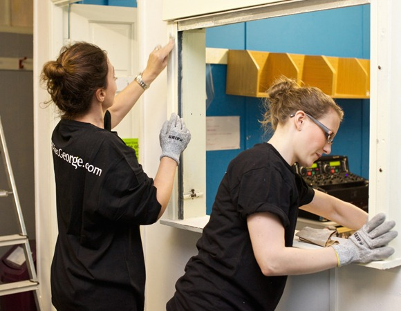 Volunteers from George at ASDA helping redecorate a school in Leicester