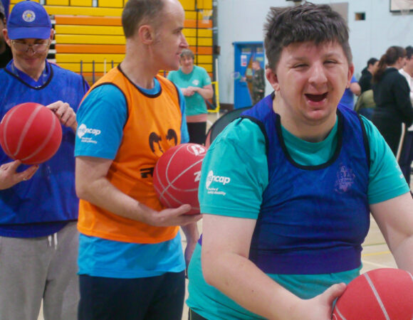 People with learning disabilities playing basketball